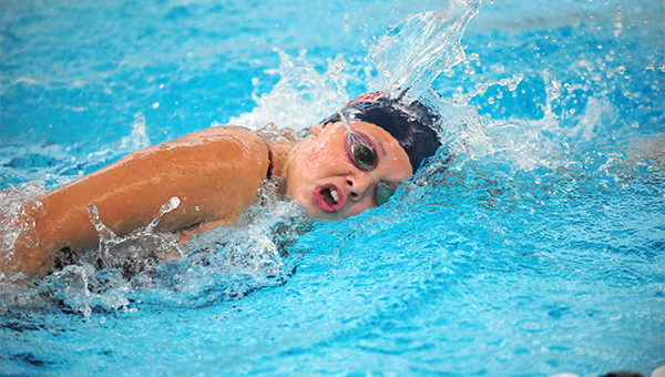 Mady Dahl of Albert Lea swims Thursday in the the 500-yard freestyle in a dual against Rochester John Marshall. Dahl took fifth place in the event. — Micah Bader/Albert Lea Tribune