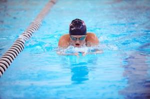 Samantha Nielsen of Albert Lea swims 100-yard breaststroke Thursday against Rochester John Marshall. Nielsen took third place in the event. She finished 0.34 seconds behind teammate Ahnika Jensen. — Micah Bader/Albert Lea Tribune