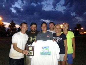 The Albert Lea Parks and Recreation Coed B League Sand Volleyball champion was Larson Contracting. From left are Bryan Skogheim, Jeremy Diaz, Sam Stadheim, Nick Hanke, Bethany Skogheim and Amber Jensen. — Submitted