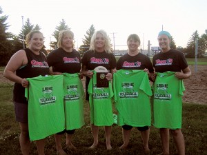 The Albert Lea Parks and Recreation Coed A League Sand Volleyball champion was Geno's Plumbing & Heating. From left are Julia Hansen, Deb Steinhauer, Monica Wallace, Michelle Schaffer and Trisha Hansen. — Submitted