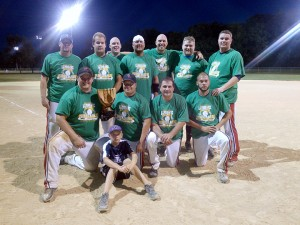 The Albert Lea Parks and Recreation Men's B League Softball Champion was the Albert Lea American Legion. Front row from the left are Spencer Niebuhr, Caden Gardner, Josh Rebelein, Steven Lehner and Dustin Peterson. Back row from left are Brian Gardner, Adam Stenzel, Ross Anderson, Josh Otto, Weston Hulst, Brandon Benson and Jake McClaskey. — Submitted