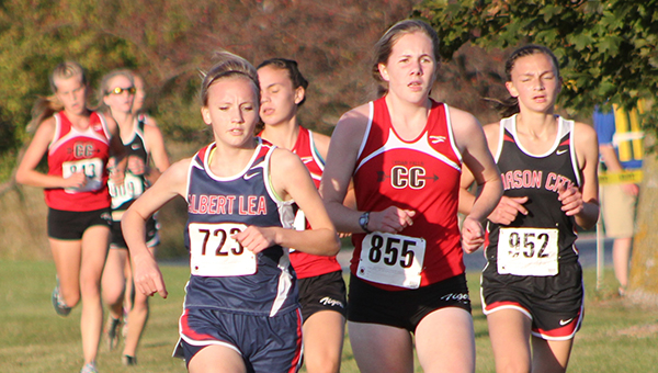 Breanna Himmerich of Albert Lea runs at Mason City on Thursday. Himmerich took 12th place and finished with a time of 16 minutes, 56 seconds. — Lon Nelson/For the Albert Lea Tribune