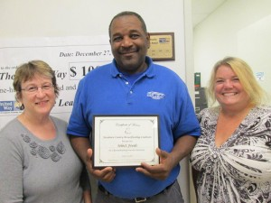 Freeborn County Breastfeeding Coalition honors Select Foods as a Breastfeeding Friendly Worksite for 2013. Pictured are Cheryl Lonning, public health nurse, Charles Newton with Select Foods and Julie Hanson Haukoos, Freeborn County peer breastfeeding counselor. -- Submitted