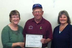 The Freeborn County Breastfeeding Coalition honors the Freeborn County Fair as a Breastfeeding Friendly Worksite for 2013. Pictured are Cheryl Lonning, Norm Fredin and Cindy Gaudian.