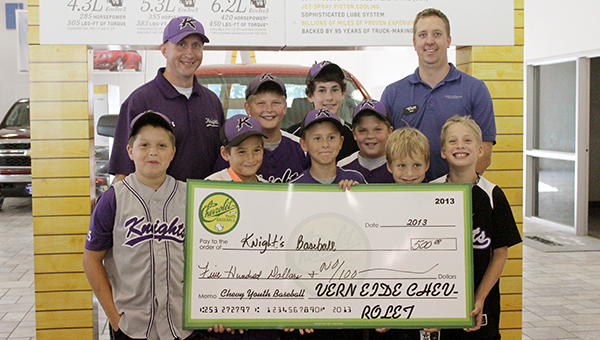 The Albert Lea Knights baseball program received a donation from Vern Eide Chevrolet. Front row from left are Ethan Ball, Cody Yokiel, Logan Barr, Drew Carlson and Dylan Carlson. Back row from left are Lonnie Smith, Trevor Ball, Jake Bordewick, Ethan Tasker and Paul Schuster. — Submitted