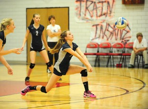 Lani Poole of Glenville-Emmons digs the ball Wednesday at Alden-Conger. Poole was third on the team with 10 digs. Alden-Conger won 3-0. — Micah Bader/Albert Lea Tribune
