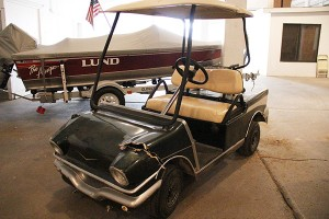 The golf cart owned by Freeborn County Fair Manager Norm Fredin was damaged Saturday night after someone reportedly broke into the Grandstand. -- Sarah Stultz/Albert Lea Tribune