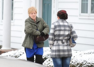 """Ellen Dolan, a professional actress who played the role of Margo on """"As the World Turns,"""" films a scene in Scott Thompson's """"After Life"""" in Lake Mills on April 12. -- Brandi Hagen/Albert Lea Tribune"""