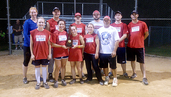 The Albert Lea Parks and Recreation coed league softball champion was Remax. Front row from left are Jordan Bang, Cali Cantu, Jodi Moen, Jennifer Moen and Cade Yost. Back row from left are Michelle Peters, Tony Tolbers, Brandon Klukow, Adam Royce, Cory Frerk and Eric Gulbrandson. Taylor Martinez and Becky Frerk are not pictured. — Submitted