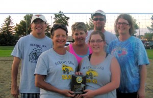 The Albert Lea Parks and Recreation coed C league sand volleyball champion was Albert Lea Taxi. Front row from left are Gayle Cooke and Bobbie Kluver. Back row from left are Aaron Cook, Lisa Kluver, Steve Kluver and Heather Nielsen. — Submitted