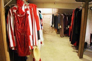 Costumes line the wall of Hallow's Eve costume shop.