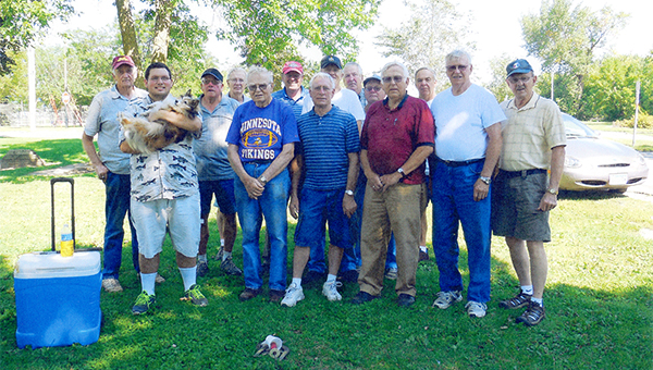 A group of friends gathered each Tuesday morning to play horseshoes in Albert Lea. Duane Jacobson earned the best record. He also won the year-end tournament. Mike Levisen took second place and won the battle of double ringers, known to the group as six packs. Participants from left are Levisen, J.J. Nibeck, Jacobson, Ted Anderson, Emil Malakowski, Dave Olson, Dale Yost, Duane Hendrikson, Bob Probst, Bob Werner, Carl Grandstrand, Bill Fletcher, Gene Peterson and Don Hebert. Merlin Peterson and Keith Porter are not pictured. — Submitted