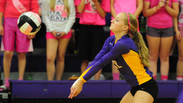 Emily Orban of Lake Mills gets a dig Monday in the semifinal match of the North Iowa Conference volleyball tournament. Orban tallied four digs. — Micah Bader/Albert Lea Tribune
