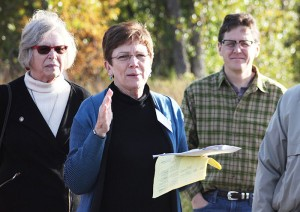 Alice Hausman, chairwoman of the Minnesota House Capital Investment Committee, speaks Wednesday morning during the committee's stop at the Blazing Star Trail. About 50 people were present.