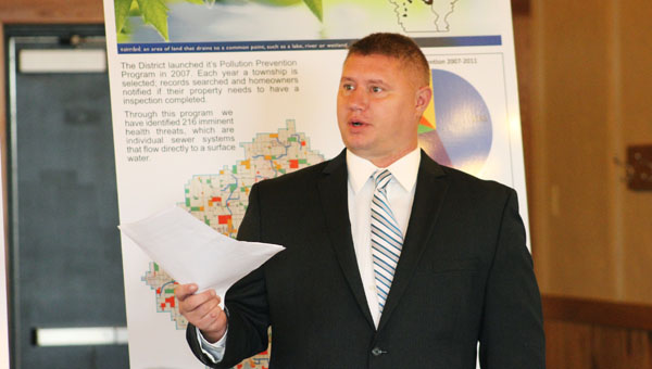Shell Rock River Watershed District Administrator Brett Behnke speaks about the Watershed District's $7.5 million bonding request for Fountain Lake during the House Capital Investment Committee's stop in Albert Lea Wednesday. -- Sarah Stultz/Albert Lea Tribune