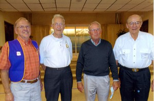 The First Presbyterian prime timers met recently. The program had four gentlemen speak on senior clubs. Pictured from left are Terry Lemer, Lions, Earl Jacobson, Rotary, Kent Erlandson, Kiwanis, and Don Rippentrop, Masons. --Submitted