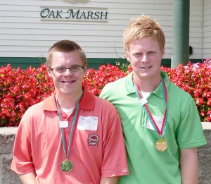 Kellen Kaasa, left, and his brother, Devin Kaasa, pose for a photo after competing together at Oak Marsh Golf Course. — Submitted