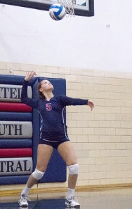 United South Central's Cassie Olson serves Monday in a 3-0 loss against St. Clair. The Rebels (11-11-1 overall) finish their regular season at home against New Richland-Hartland-Ellendale-Geneva (8-13-3 overall) at 7:15 p.m. today. — Drew Claussen/Albert Lea Tribune