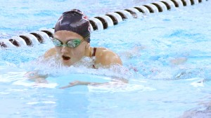 Albert Lea's Samantha Nielsen swims in the 200-yard individual medley Tuesday night against Winona. — Drew ClaussenAlbert Lea Tribune