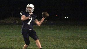 Glenville-Emmons quarterback Justice Haines throws the ball Friday against LeRoy-Ostrander. — Drew Claussen/Albert Lea Tribune