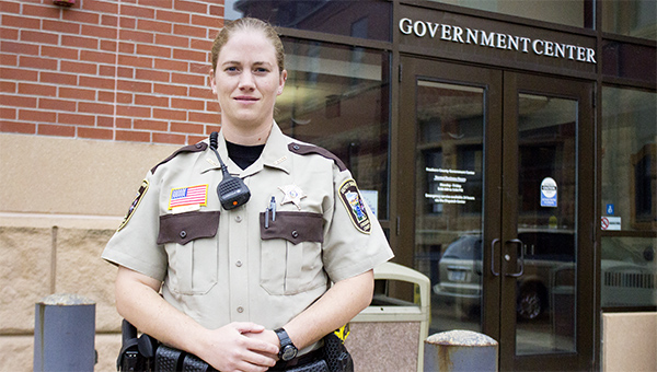 Christina Klimp, the newest patrol deputy for the Freeborn County Sheriff's Office, is the first woman patrol deputy for the law enforcement agency. --Sarah Stultz/Albert Lea Tribune