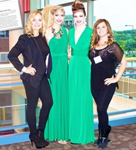 Albert Lea hairstylist Amber Busall, right, got the opportunity to assist Sherri Jessee, left, an international award-winning hairstylist, at InSalon 2013 at the St. Paul RiverCentre. They stand with models Danielle Hooper, second from left, and Tali Neidenfeuhr. --Submitted