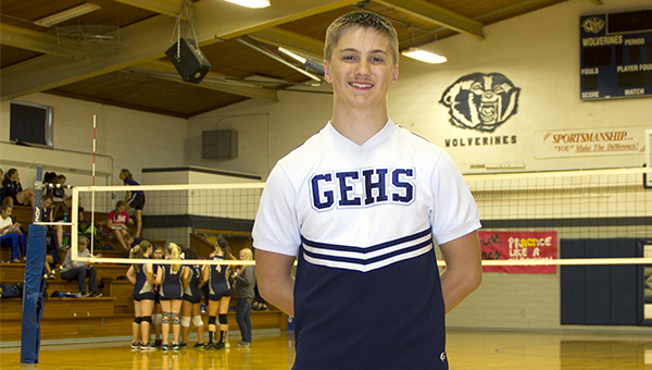 Derrick Kraushaar of Glenville-Emmons has been a member of the cheerleading team for three years. After he signed up, the team encouraged him to stay. — Micah Bader/Albert Lea Tribune