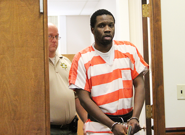 Tyrone Washington Jr., accused in the murder of Justina Marie Smith, walks into a Worth County courtroom Monday for a hearing. -- Sarah Stultz/Albert Lea Tribune
