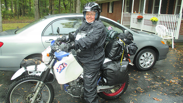 Loretta Vince had this photo taken right before she began her cross country journey on Oct. 7. The London, England, native is crossing the United States, and stopping in Albert Lea, on her motorcycle before heading to Australia. -- Submitted