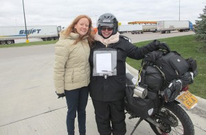 Lisa Ehlers, left, and Loretta Vince pose for a photo near Vince's motorcycle. -- Submitted
