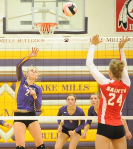 Lake Mills' Morgan Christenson gets the ball over the net during Tuesday's Class 2A, Region 1 volleyball match against St. Ansgar. — Drew Claussen/Albert Lea Tribune