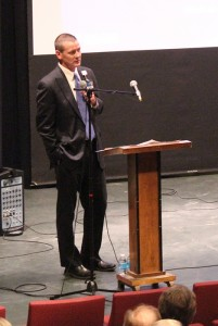 Mark Ciota, CEO of Mayo Clinic Health System in Albert Lea and Austin, speaks to a crowd of about 180 people Tuesday night at the Marion Ross Performing Arts Center. --Kelli Lageson/Albert Lea Tribune