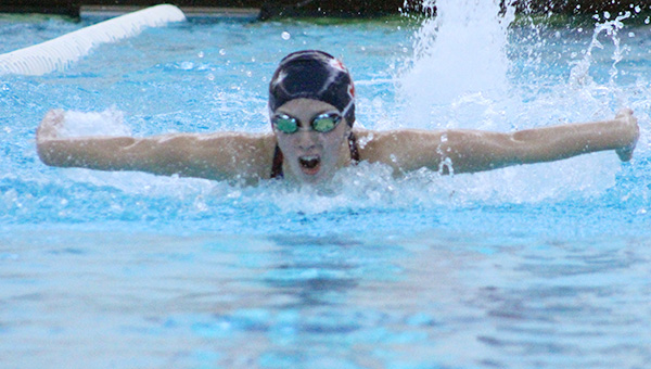 Albert Lea's Hannah Hertling swims in the 100-yard butterfly Tuesday night against Winona. — Drew Claussen/Albert Lea Tribune