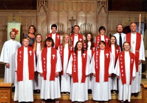 First Lutheran Church celebrated the confirmation of 12 of its parishioners on Oct. 13. First row from left are Eli Dahl, Kyle Neidermeier, Madison Jacobson, Spencer Pannkuk and Alyssa Christenson. Second row from left are the Rev. Kyle Fever, Kass Jansen, Brooke Paulson, Emma Boyenga, Emma Iverson and the Rev. John Holt. Third row from left are Jenny Edwin, Chase Flugum, Colton Mowers, Jaden Struck and Jordan Winter. --Submitted