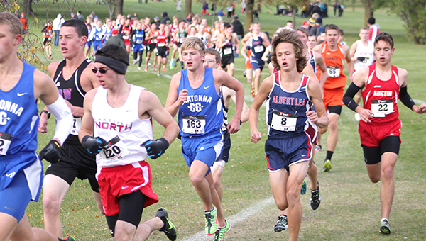 Jackson Goodell of Albert Lea competes in a cross country meet this season. At the Section 1AA meet at Brooktree Golf Course in Owatonna, Goodell qualified for state with a seventh-place finish and a time of 16 minutes, 19 seconds. — Lon Nelson/For the Albert Lea Tribune