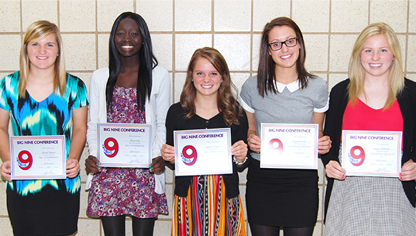 The 2013 Albert Lea girls' soccer team qualified for the Section 2A finals with an overall record of 13-6-1, and five members of the squad were recognized by the Big Nine Conference. From left are Brooke Hanson, All-State and All-Conference; Becca Dup, All-Conference; Sydney Overgaard, All-Conference; Kegan Kortan, All-Conference honorable mention; and Taylor Thompson, All-Conference honorable mention. Kortan, Overgaard and Hanson were team captains. — Submitted