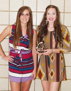 Two players won the versatile bronze-level award from Albert Lea girls' soccer head coach Rick Barnhill at the awards banquet on Oct. 24. From left are Mackenzie Waldemar and Grace Gjersvik. — Submitted
