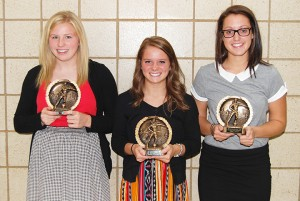 Three players won the elite gold-level award from Albert Lea girls' soccer head coach Rick Barnhill at the awards banquet on Oct. 24. From left are Taylor Thompson, Sydney Overgaard and Megan Kortan. — Submitted