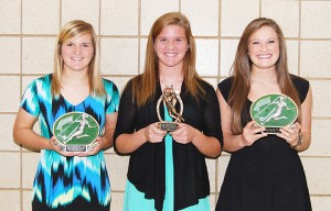 The team MVP was split three ways by Albert Lea girls' soccer head coach Rick Barnhill at the awards banquet on Oct. 24. From left are Brooke Hanson, Hanna DeVries and Sarah Savelkoul. — Submitted