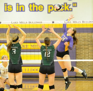 Lake Mills' Madison Shifflett attempts a spike in Friday night's home Class 2A, Region 1 victory over North Union. — Drew Claussen/Albert Lea Tribune