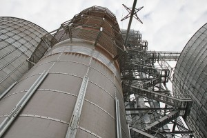 The new grain storage facility in Scarville, Iowa, tops out at 160 feet tall. Officials with Five Star Co-op gathered in Scarville last week to present the facility to the news media. It opened in mid-September. -- Tim Engstrom/Albert Lea Tribune