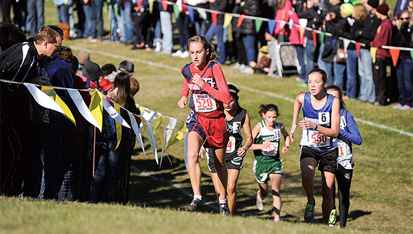 United South Central's Beth Stevermer climbs the final hill on the way to the finish of the Class A girls' race of the Minnesota state cross meet Saturday at St. Olaf College in Northfield. Stevermer, an eighth-grader, took 14th place. — Eric Johnson/Albert Lea Tribune