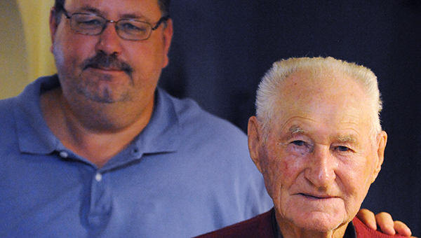 """Roland """"Rollie"""" Marquardt, right, stands next to his son Bob in his Garfield Avenue home. Marquardt played minor league baseball in the 1940s and was in the Brooklyn Dodgers organization at the same time as Jackie Robinson.  --Drew Claussen/Albert Lea Tribune"""