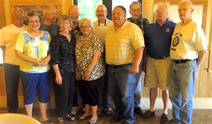 At the June installation for the Rotary Club, members were recognized for perfect attendance. From left are Bernie Benson, 12 years, Marilyn Danielsen, six years, Earl Jacobsen, 10 years, Lilah Aas, five years, Bill Danielsen, 43 years, Linda Lares, eight years, Chuck Sandager, six years, John Forman, 19 years, Art Smith, one year, Casey Swenson, eight years, and Bill Groskurth, 25 years. Not pictured is Don Nolander, 31 years.