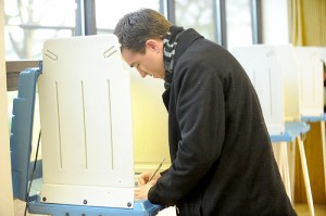 Joe Squires votes at United Methodist Church this morning. Polls opened at 7 a.m. and will be open until 8 p.m. --Brandi Hagen/Albert Lea Tribune