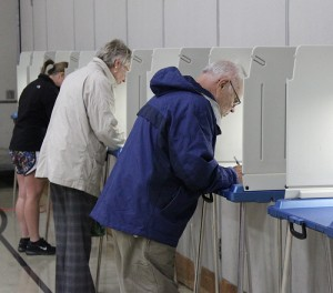 Voters read and mark ballots at Brookside Education Center on Tuesday evening. --Kelli Lageson/Albert Lea Tribune