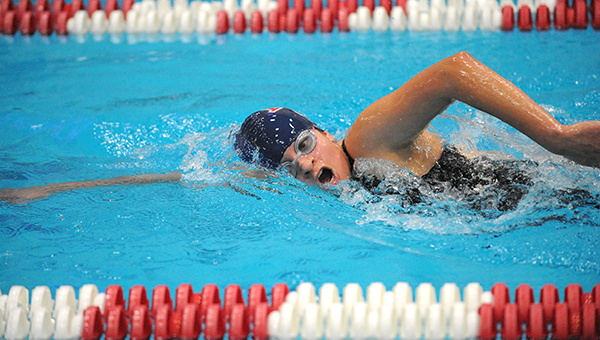 Emily Wangen of Albert Lea swims the 500-yard freestyle Wednesday during the Section 1A preliminary meet. Wangen took 30th place in 6:13.36. — Micah Bader/Albert Lea Tribune