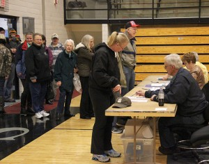 A small rush of voters came at 5 p.m. Tuesday at the Alden-Conger School polling place. --Kelli Lageson/Albert Lea Tribune