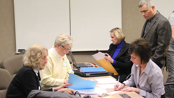 Election officials tally votes late Tuesday evening at the Freeborn County Courthouse. Six precincts reported results in the Albert Lea School District's operating levy renewal vote. --Kelli Lageson/Albert Lea Tribune