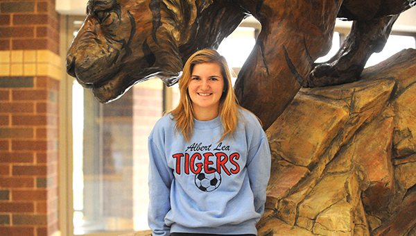 Brooke Hanson, a senior co-captain on the Albert Lea girls' soccer team, played without a working anterior cruciate ligament (ACL) this season after tearing her ACL and medial collateral ligament (MCL) as a junior. She earned All-State honorable mention accolades this season. — Micah Bader/Albert Lea Tribune